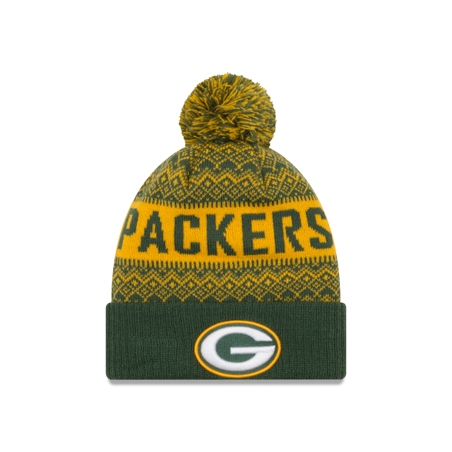 GREEN BAY PACKERS WINTRY POM KNIT Front view